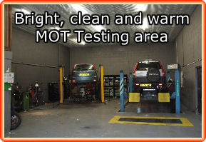 Bright, clean and warm MOT Testing area